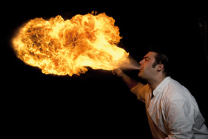 Flames are naturally turbulent, exhibiting modulation or 'flicker'.